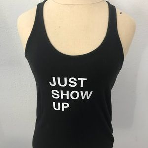 Tops - Black Racerback Tank 'Just Show Up' Workout